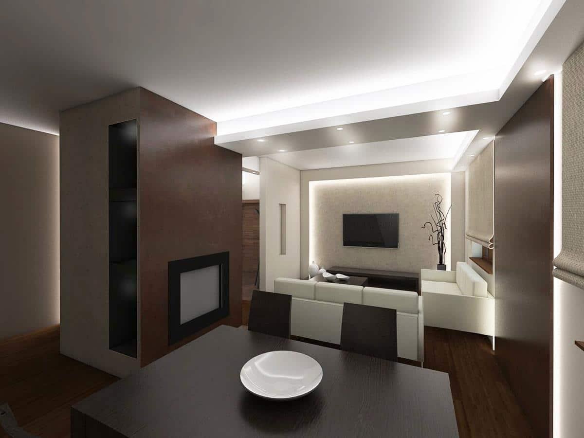 nowoczesne wnętrza domów wizualizacje salon z kominkiem