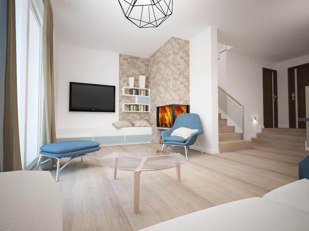 projekty domów z wizualizacją wnętrz salon z kominkiem