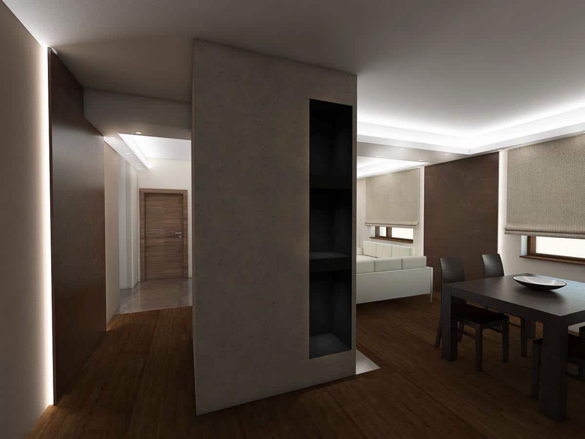 projekty domów z wnętrzami salon z jadalnią