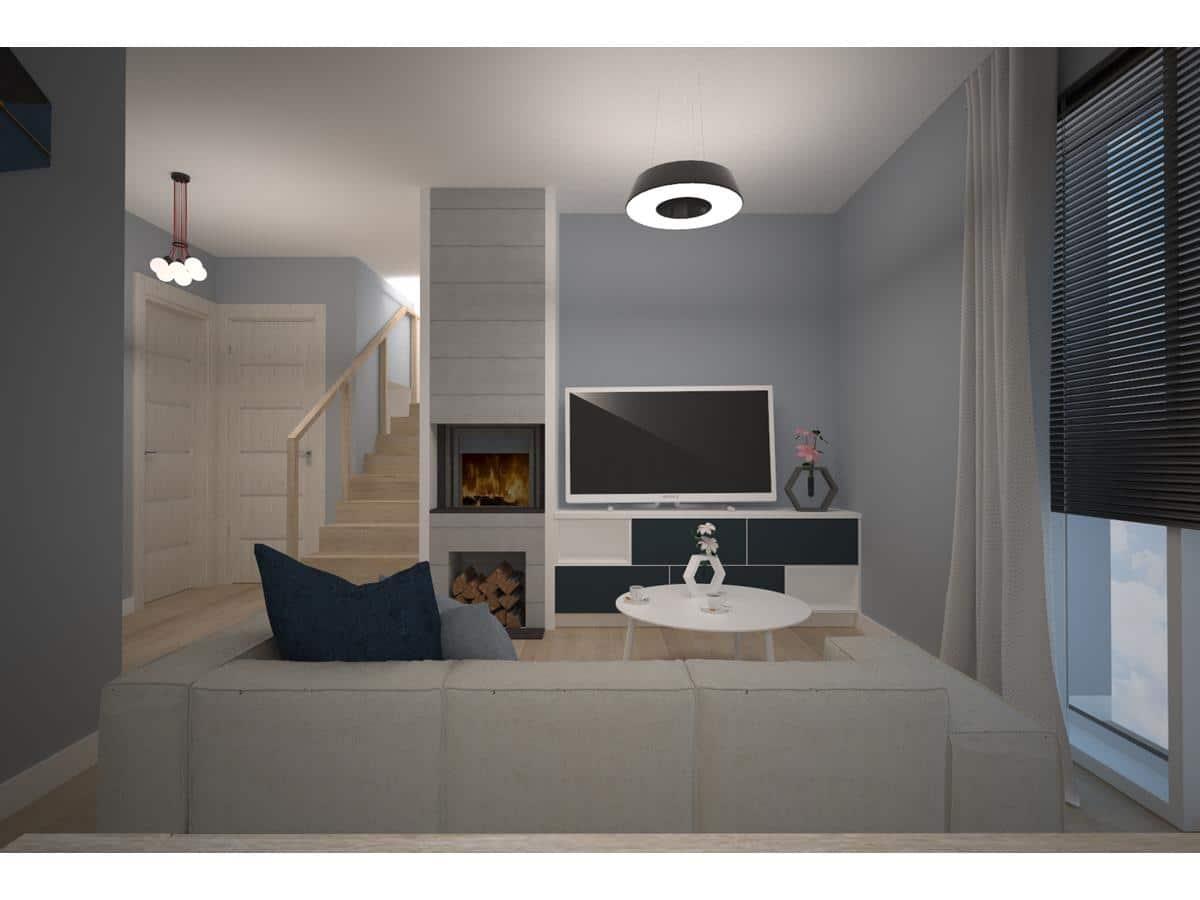 Projekty wnętrz domów jednorodzinnych salon