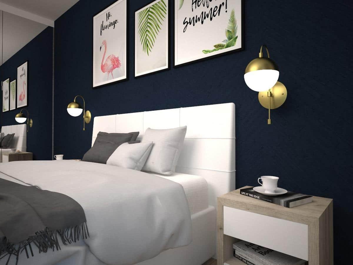 Projekty wnętrz domów jednorodzinnych - nowoczesna sypialnia