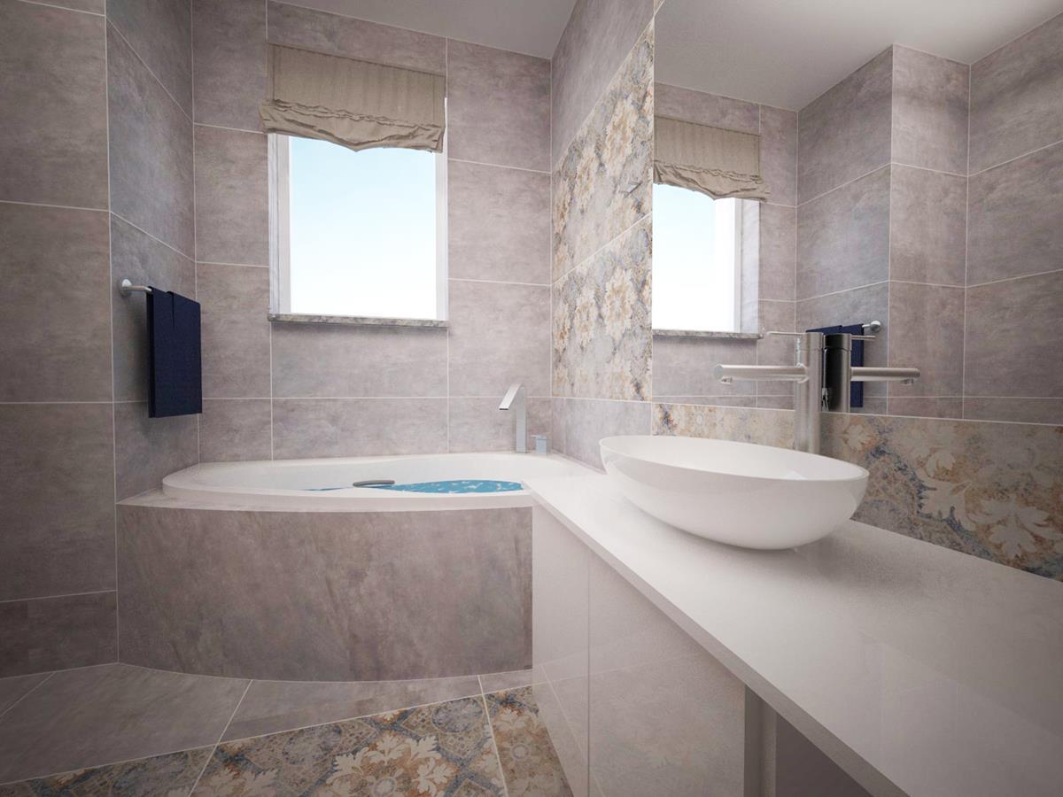 Wizualizacja wnętrza domu łazienka z wanną