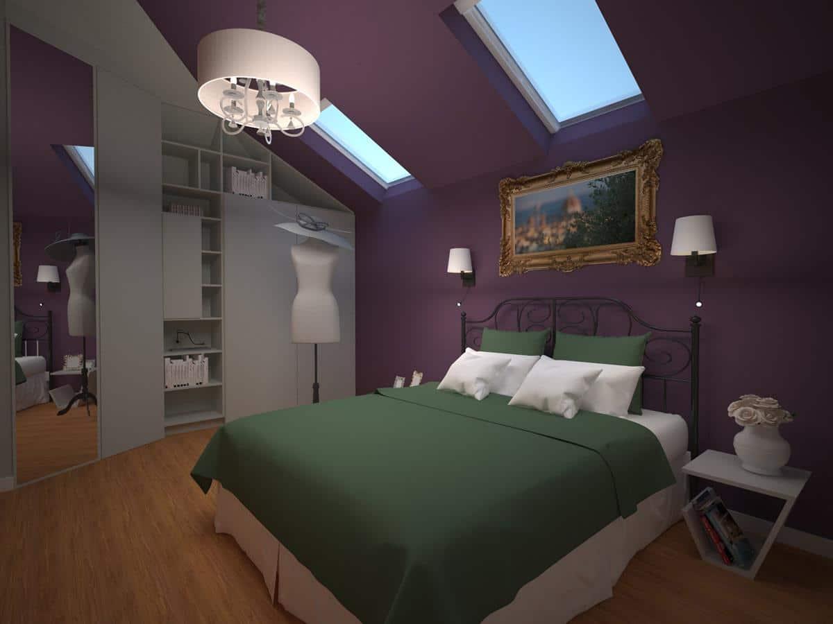 Wizualizacja wnętrza domu Kraków - sypialnia pod skosami