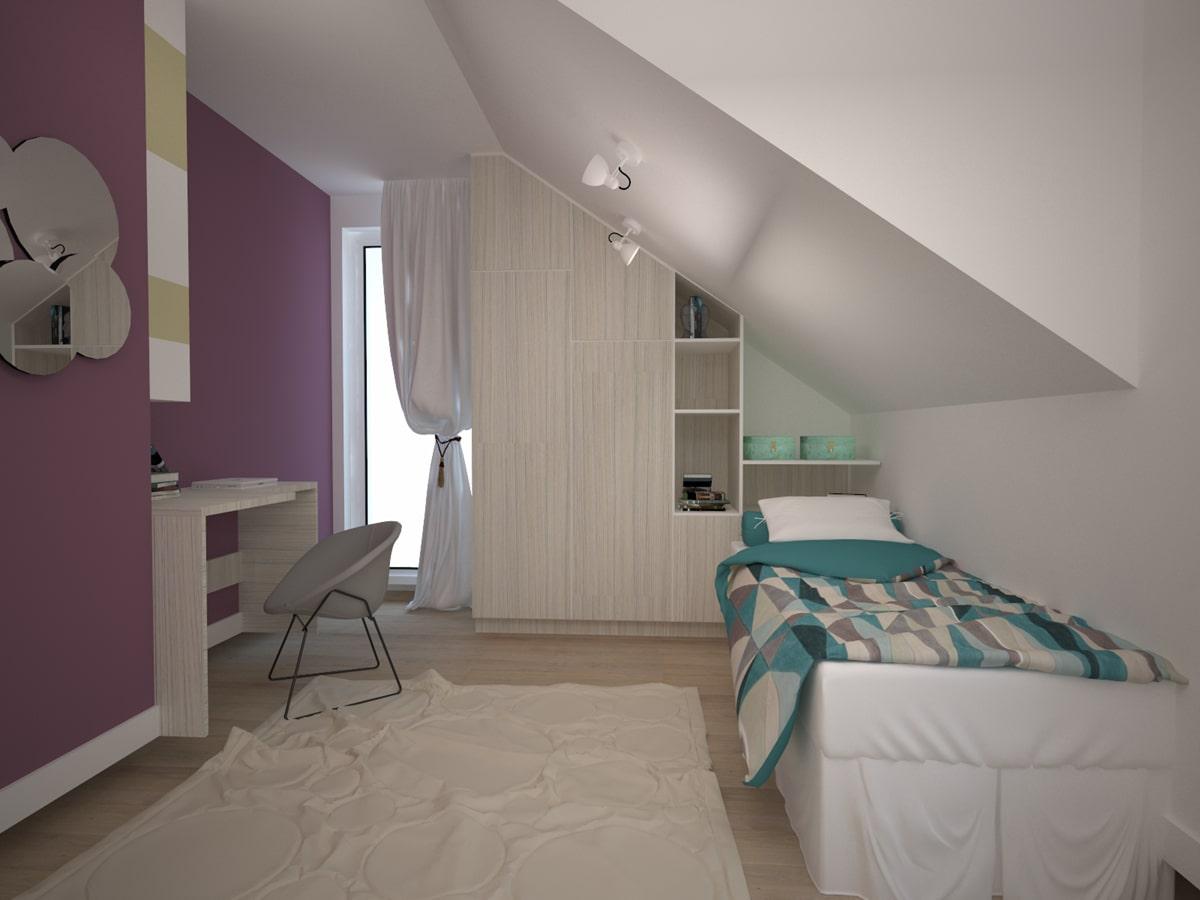 Wizualizacja wnętrza domu sypialnia pod skosami