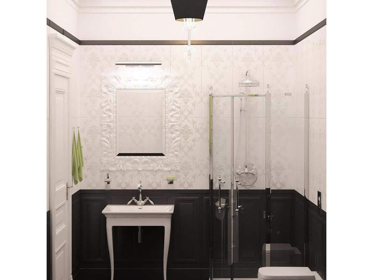 Wnętrza domów parterowych - stylowa łazienka