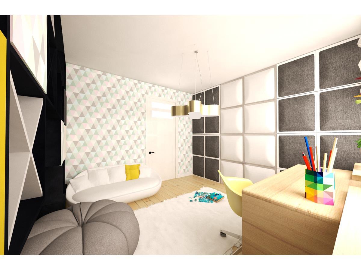 Wnętrza domów parterowych pokój dla dziewczynki