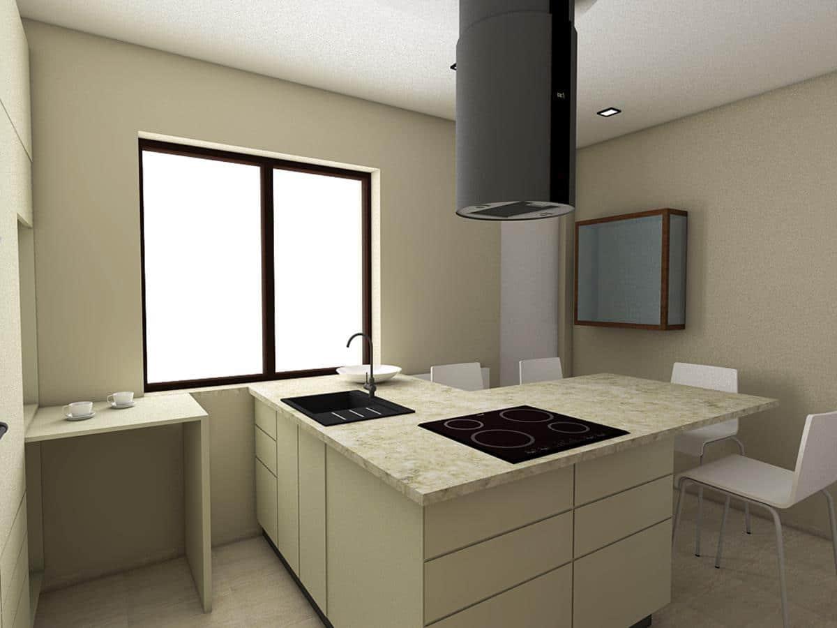 Wnętrza nowoczesnych domów - kuchnia z wyspą i chowanym stolikiem
