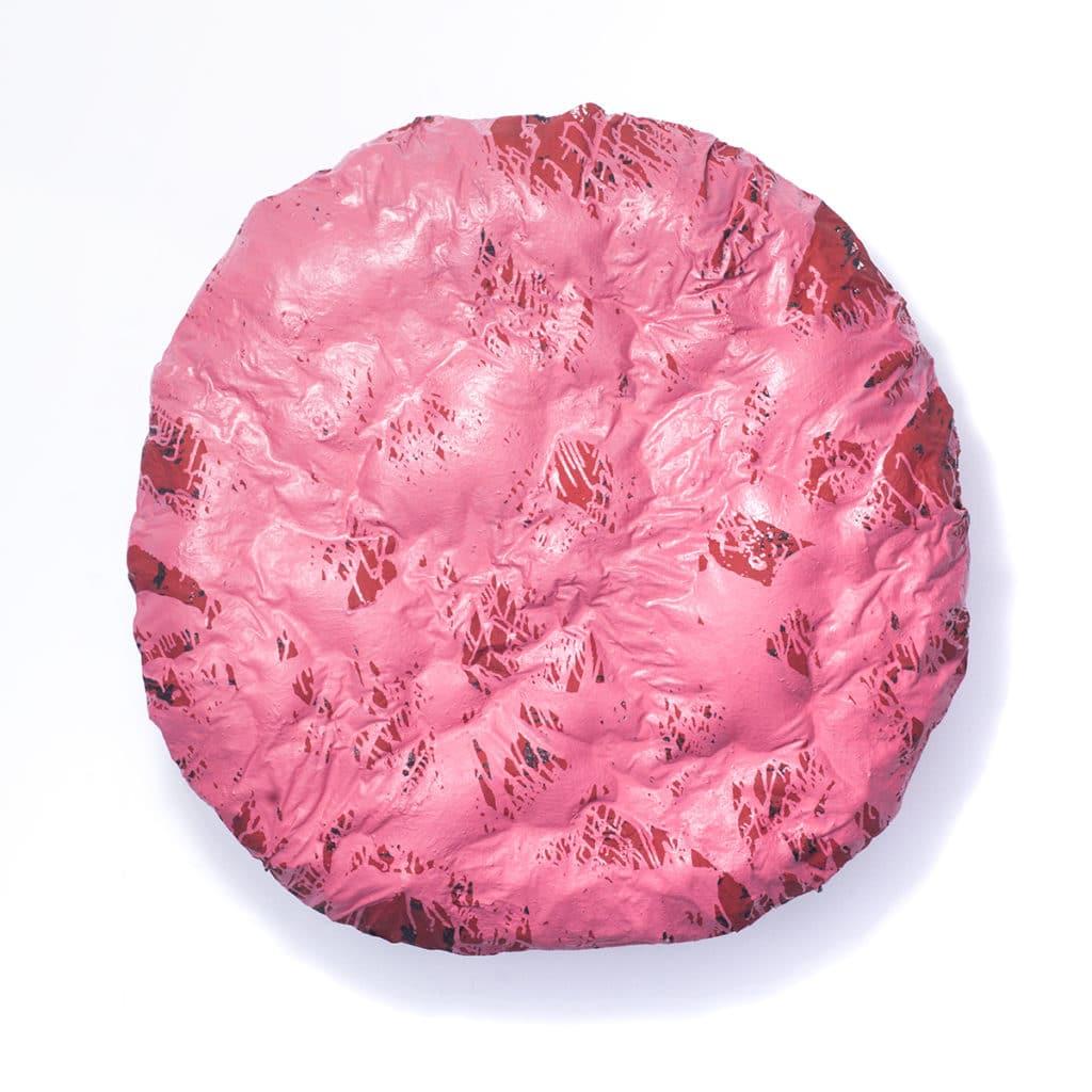Robert Jaworski, Moyra 008 Record, 2018, technika własna, akryl, olej, żywica, 140x140x20 cm