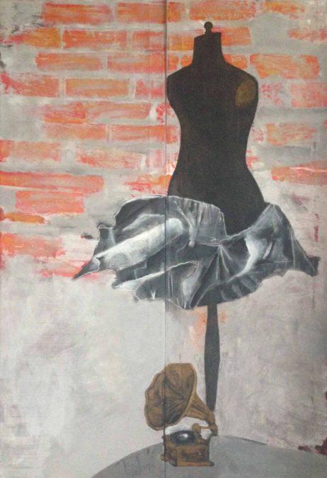 Agata Rościecha, z cyklu Manekiny 3, technika mieszana, płótno, 150x100 cm