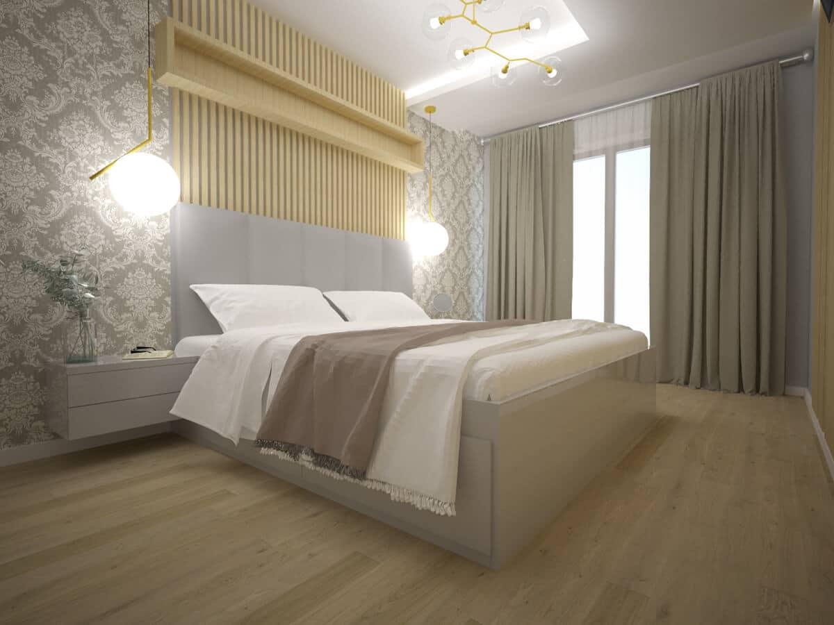Projekty wnętrz domów jednorodzinnych sypialnia