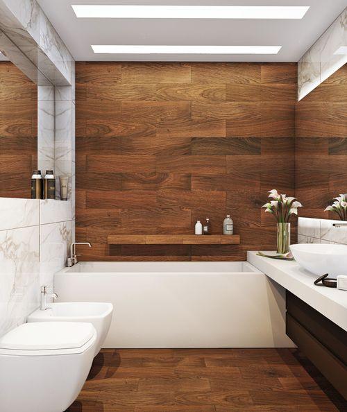 łazienka z drewnianym akcentem